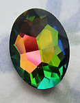 glass vitrail rainbow special effects oval rhinestone 18x13mm - f6383