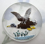 glass reverse painted intaglio mallard duck in flight cabochon 30mm - f6413
