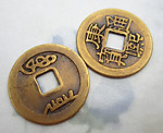 6 pcs. Chinese coin beads charms 23.5mm - f6429