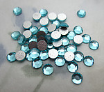 150 pcs. glass aqua blue chanton rose foiled flat back cabochons ss15 - f6432