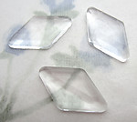 10 pcs. glass faceted diamond harlequin unfoiled flat back cabochons 18x10mm - f6434
