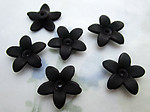 18 pcs. frosted acrylic black flower beads 16mm - f6455