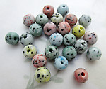 25 pcs. Czech glass assorted pastel speckled opaque round beads 8mm - f6458