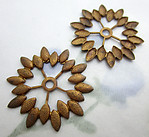 5 pcs. raw brass leaf border stampings w rivet hole 25.5mm - f6463