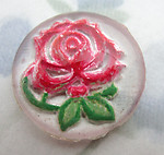 glass reverse painted intaglio rose flower cabochon 18mm - f6480