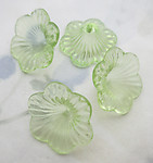 12 pcs. green plastic flower beads 20x9mm - f6482