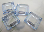 12 pcs. plastic blue square diamond hoop 2 hole connectors 27mm - f6506