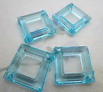12 pcs. plastic turquoise blue square diamond hoop 2 hole connectors 27mm - f6507