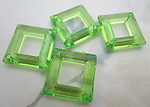 12 pcs. plastic green square diamond hoop 2 hole connectors 27mm - f6508