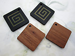 12 pcs. faux wood grain and geometric spiral pendants charms 38mm - f6515