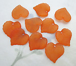 30 pcs. orange frosted acrylic leaf bead charms 15x15mm - f6530