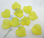 30 pcs. yellow frosted acrylic leaf bead charms 15x15mm - f6532