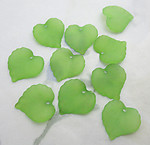 30 pcs. green frosted acrylic leaf bead charms 15x15mm - f6533