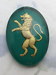 glass reverse painted intaglio green w gold rampant lion cabochon 25x18mm - f6544