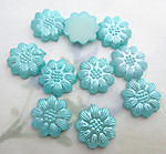 30 pcs. aqua blue pearly plastic flower flat back cabochons 13mm - f6550