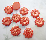 30 pcs. coral orange pearly plastic flower flat back cabochons 13mm - f6551