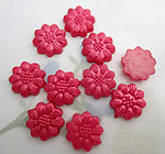 30 pcs. red pearly plastic flower flat back cabochons 13mm - f6553