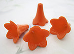 12 pcs. orange plastic trumpet flower beads 22x20mm - f6561