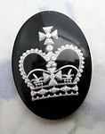 glass black w silver reverse painted intaglio royal king's crown cabochon 25x18mm - f6562