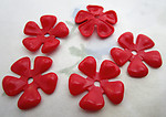 15 pcs. red plastic flower rivet on findings beads 20mm - f6575