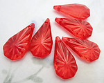18 pcs. acrylic starburst faceted tear drop charms 24x12x5mm - f6592