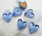 18 pcs. glass sapphire blue give heart foiled flat back cabochons 8mm - f6608