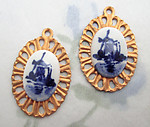 4 pcs. Delft handprinted ceramic windmill charms on raw brass starburst sun ray base 22x16mm - f6621