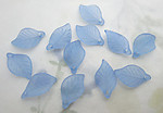 36 pcs. blue frosted acrylic leaf bead charms 18x11mm - f6630