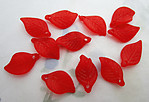 36 pcs. red frosted acrylic leaf bead charms 18x11mm - f6631