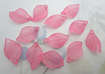 36 pcs. pink frosted acrylic leaf bead charms 18x11mm - f6633