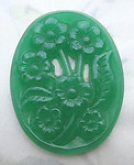 glass chrysoprase green floral flower relief cameo pierced flat back cabochon 36x28mm - f6641
