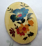 resin cloisonne over aluminum floral flower morning glory cabochon 40x30mm - f6648