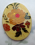 resin cloisonne over aluminum floral flower yellow rose cabochon 40x30mm - f6649