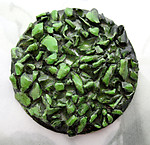 high relief pebbly texture green on aluminum base cabochon 38mm - f6657