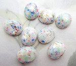 6 pcs. glass white multicolored confetti speckled w foil inclusion sparkly flat back cabochons 10x8mm - f6663