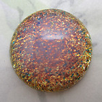 glass golden pink sparkly fire opal flat back cabochon 25mm - f6667