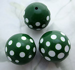 10 pcs. plastic green and white polka dot beads 21mm - f6681