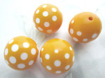 12 pcs. plastic yellow and white polka dot beads 18mm - f6682