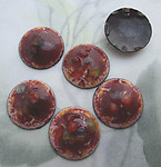 4 pcs. glass bumpy enamel on copper red brown cabochons 15mm - f6683