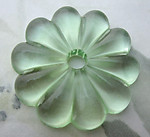 glass light green flower flat back sew on cabochon chandelier component 35mm - f6686