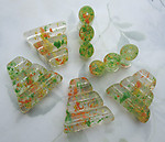 6 pcs. lucite green yellow orange confetti 3 hole triangle spacer beads 36x35mm - f6690