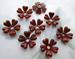 24 pcs. plastic brown flower rivet on findings or beads 13mm - f6695