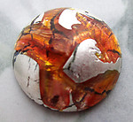 glass orange foil inclusion flat back cabochon 18mm - f6702