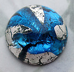 glass blue foil inclusion flat back cabochon 18mm - f6704