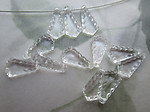 36 pcs. plastic clear scalloped wedge bead drop charms 12x6mm - f6708
