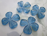 6 pcs. plastic blue sew on flower finding or bead w 5 holes 43mm - f6715