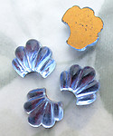 12 pcs. glass light sapphire blue foiled plume flat back cabochons 11x9mm - f6717