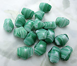 18 pcs. glass green stripe angular beads 15x12mm - f6719