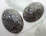 6 pcs. slate gray grey glitter lucite oval flat back cabochons 25x18mm - f6722