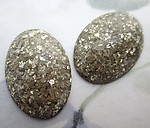 6 pcs. antiqued silver glitter lucite oval flat back cabochons 25x18mm - f6723